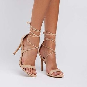 Charlotte Russe nude lace up heels